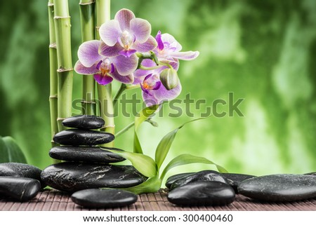 spa concept with zen basalt stones ,orchid and bamboo - stock photo