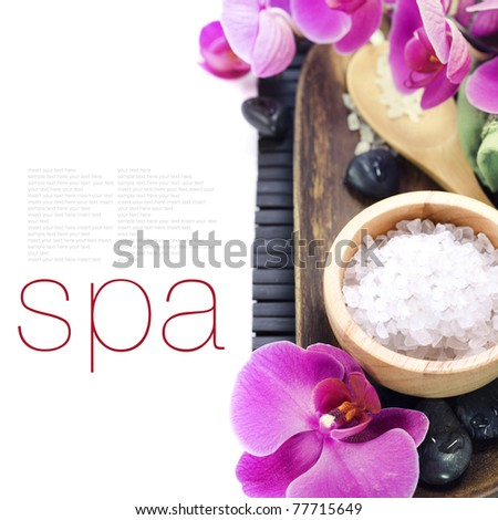 spa concept (zen stones, sea salt, towel and orchid) over white with sample text - stock photo