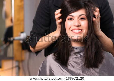 Spa Day Pretty Brunette Woman Head Message Beauty Salon - stock photo