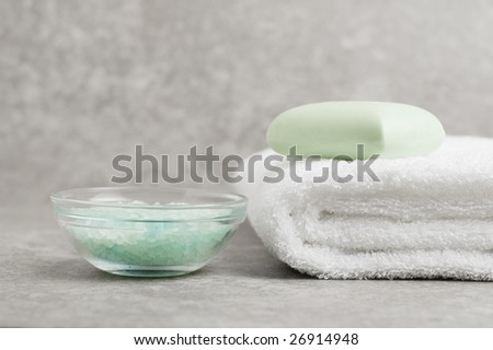 Spa display against a gray stone background.