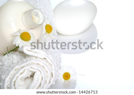 spa essentials and daisies - stock photo