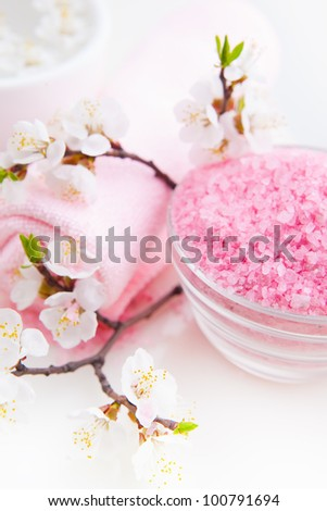 Spa essentials (sea salt, towel and blossom apricot) - stock photo