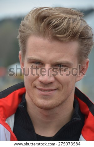 SPA-FRANCORCHAMPS, BELGIUM - MAY 2: German race car driver Nico Hulkenberg (Porsche) during round 2 of the FIA World Endurance Championship on May 1, 2015 in Spa-Francorchamps, Belgium.  - stock photo