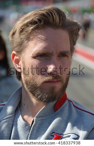 SPA-FRANCORCHAMPS, BELGIUM - MAY 4: German racing driver Giedo van der Garde (Rebellion Racing R-One - AER) during round 2 of the FIA WEC on May 4, 2016 in Spa-Francorchamps, Belgium. - stock photo