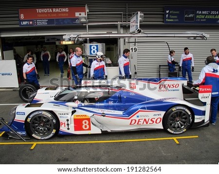 SPA-FRANCORCHAMPS, BELGIUM - MAY 1: Nicolas Lapierre sitting in the Toyota Racing TS 040 Hybrid during round 2 of the FIA World Endurance Championship on May 1, 2014 in Spa-Francorchamps, Belgium. - stock photo