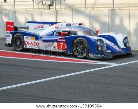 SPA-FRANCORCHAMPS, BELGIUM - MAY 4: The Toyota TS030 Hybrid car waiting at the end of the pitlane during round 2 of the FIA World Endurance Championship on May 4, 2013 in Spa-Francorchamps, Belgium. - stock photo