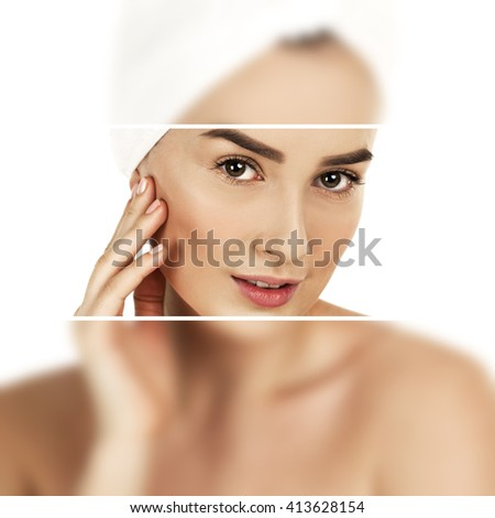 Spa Girl. Beautiful Young Woman After Bath. Perfect Skin, isolated on white background - stock photo