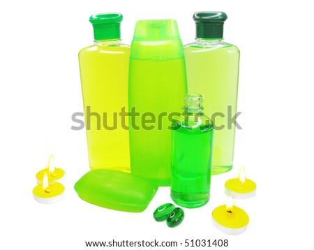 spa hair herbal shampoo candles oil essen?es - stock photo