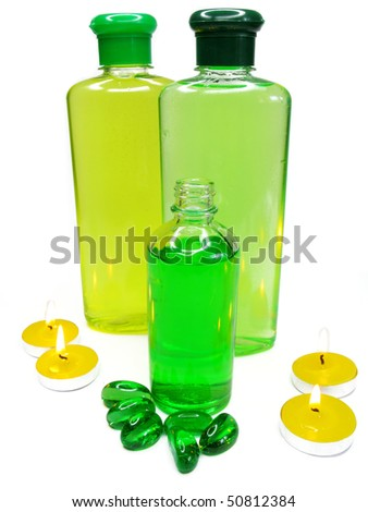 spa hair herbal shampoo candles oil essences - stock photo