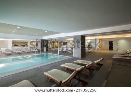 spa hotel interior pool - stock photo