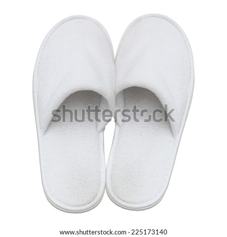 Spa, hotel, wellness - home slippers isolated - stock photo