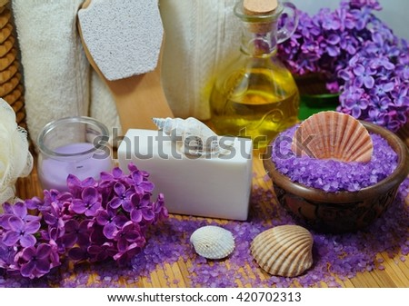 Spa in flower color lilac - Aromatic soap, scented bath salt, and oil, and accessories for massage and bath
