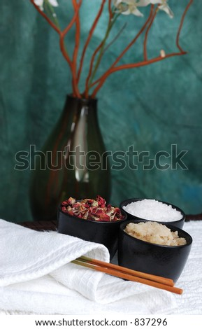Spa ingredients with vase - stock photo