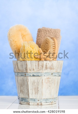 Spa items on fresh blue background  - stock photo