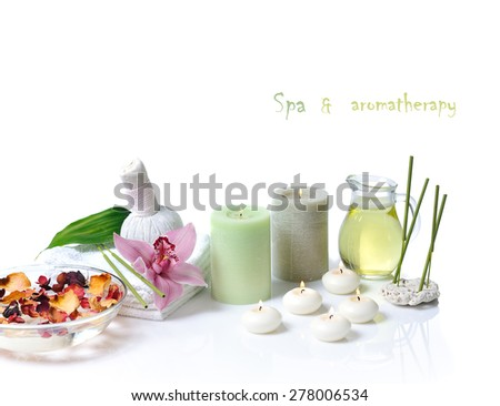 spa items with lilac orchid on white background - stock photo
