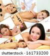 Spa massage collage - stock photo