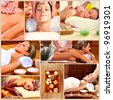 Spa massage collage background. Relax. - stock photo
