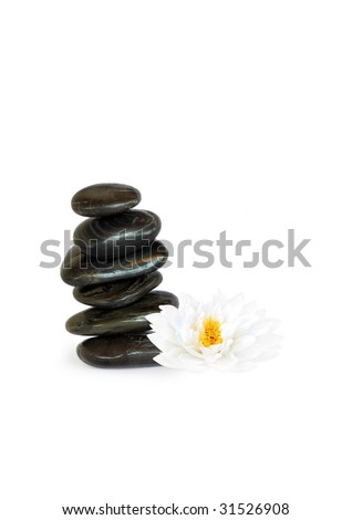 Spa massage treatment stones in perfect balance with a japanese lotus lily, over white background. - stock photo