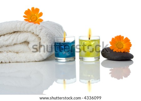 spa objects on white background
