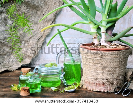 spa of aloe vera, skin-care products