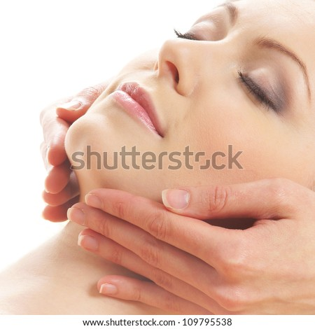 Spa portrait over white - stock photo