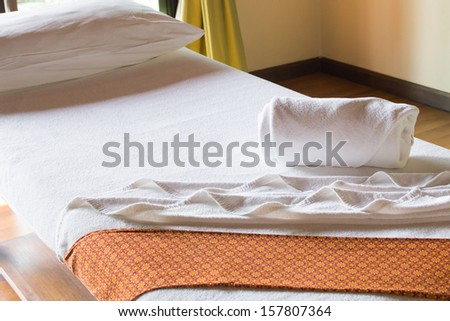 spa relaxation bed for massage - stock photo