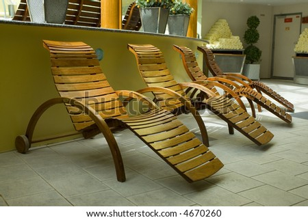 spa resort wood lounge chairs relaxing stock photo royalty free