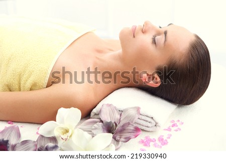 Spa - rest, relaxation, health .Woman relaxes in a beauty salon. - stock photo