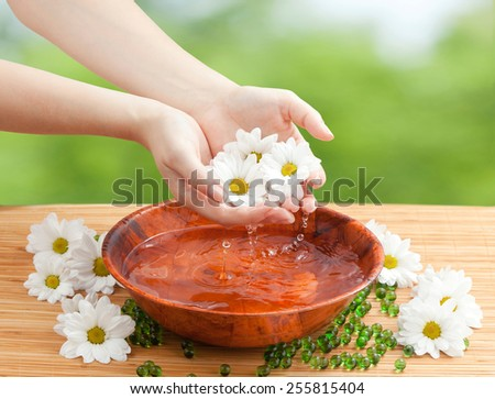 Spa Salon: Beautiful Female Hands with French Manicure in the Bamboo Bowl of Water Holding White and Yellow Flowers on the Straw Mat at the Nature Background - stock photo