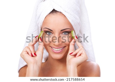 Spa, salon. Cute, attractive woman with towel on a white background - stock photo