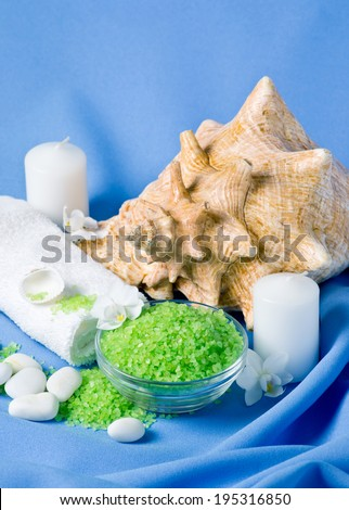 Spa salon design with sea salt and orchid flowers. - stock photo