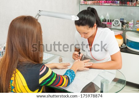 Spa salon. Manicure. - stock photo