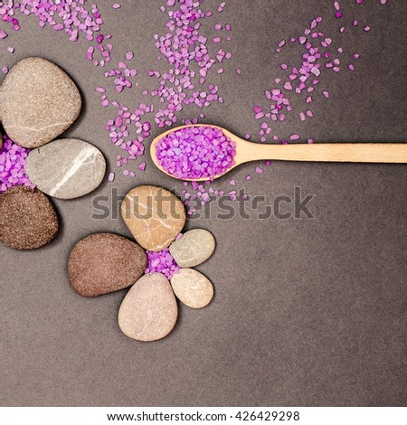 Spa salt and stone treatment. Aromatherapy for beauty, wellness, relaxation. Aroma healthy nature massage. Relax medicine therapy. Sea cosmetic for body. - stock photo