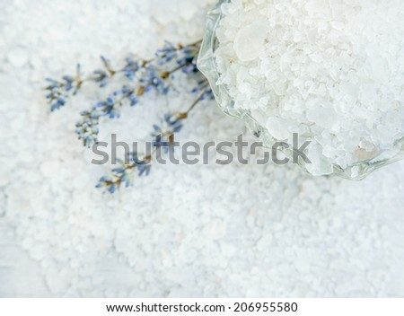 Spa, Scented Sea white salt with lavender, Selective focus