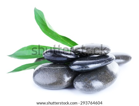Spa sea stones with green leaves isolated on white