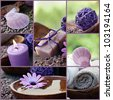 Spa series. Collage of wellness products.  Soap, candles, flower, shell and towels in natural dayspa setting. - stock photo