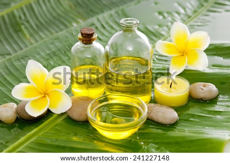 Spa set and banana leaf - stock photo