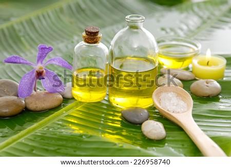 Spa set on banana leaf  - stock photo