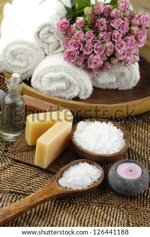 Spa set on mat