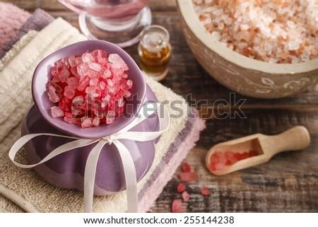 Spa set: sea salts, essential oil, towels - stock photo