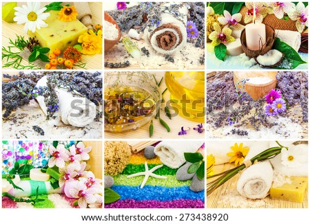 Spa set with aroma oil, sea salt, flowers, lavender, plants, towel, soap, stones, bamboo, candle, mat - stock photo