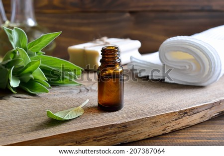 Spa set with essential sage oil in a dark glass bottle with a bunch of freshly gathered green sage leaves - stock photo