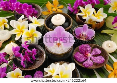 Spa setting and palm leaf - stock photo