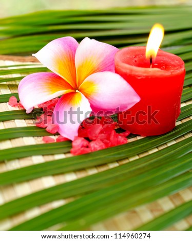 Spa setting concept with plumeria flowers and candle - stock photo
