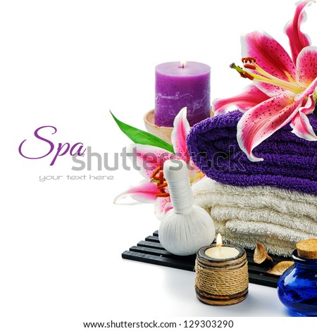 Spa setting in purple tone isolated over white - stock photo