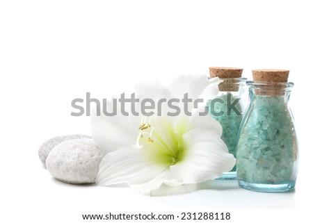 Spa setting isolated on white - stock photo