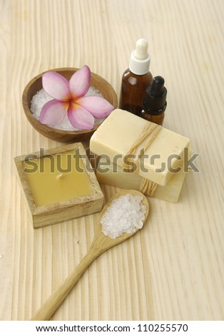 Spa setting on a wooden board