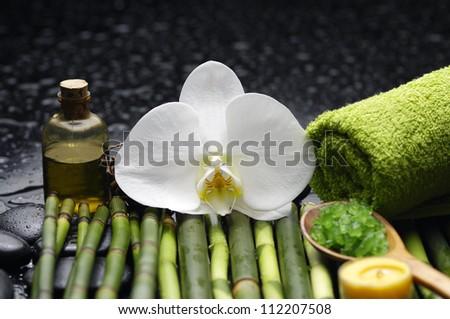 Spa setting on bamboo grove - stock photo