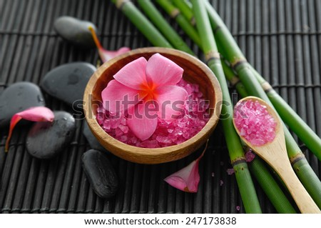 SPA setting on bamboo mat - stock photo