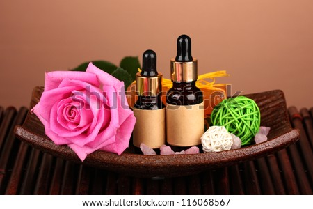 spa setting  on  brown background